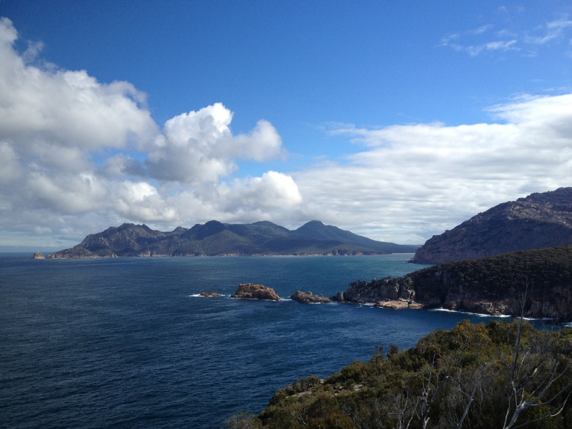 View towards Wineglass Bay, Freycinet National Park, Tasmania.