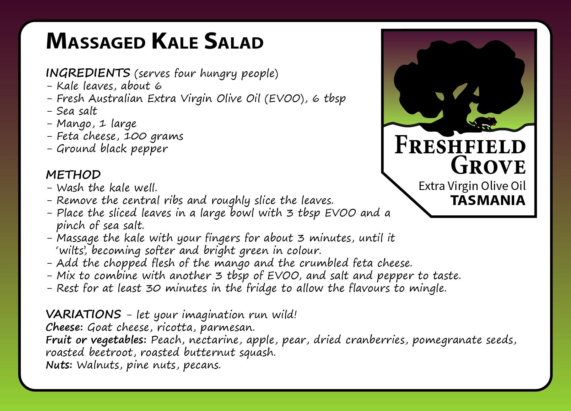 massaged kale salad evoo mango feta