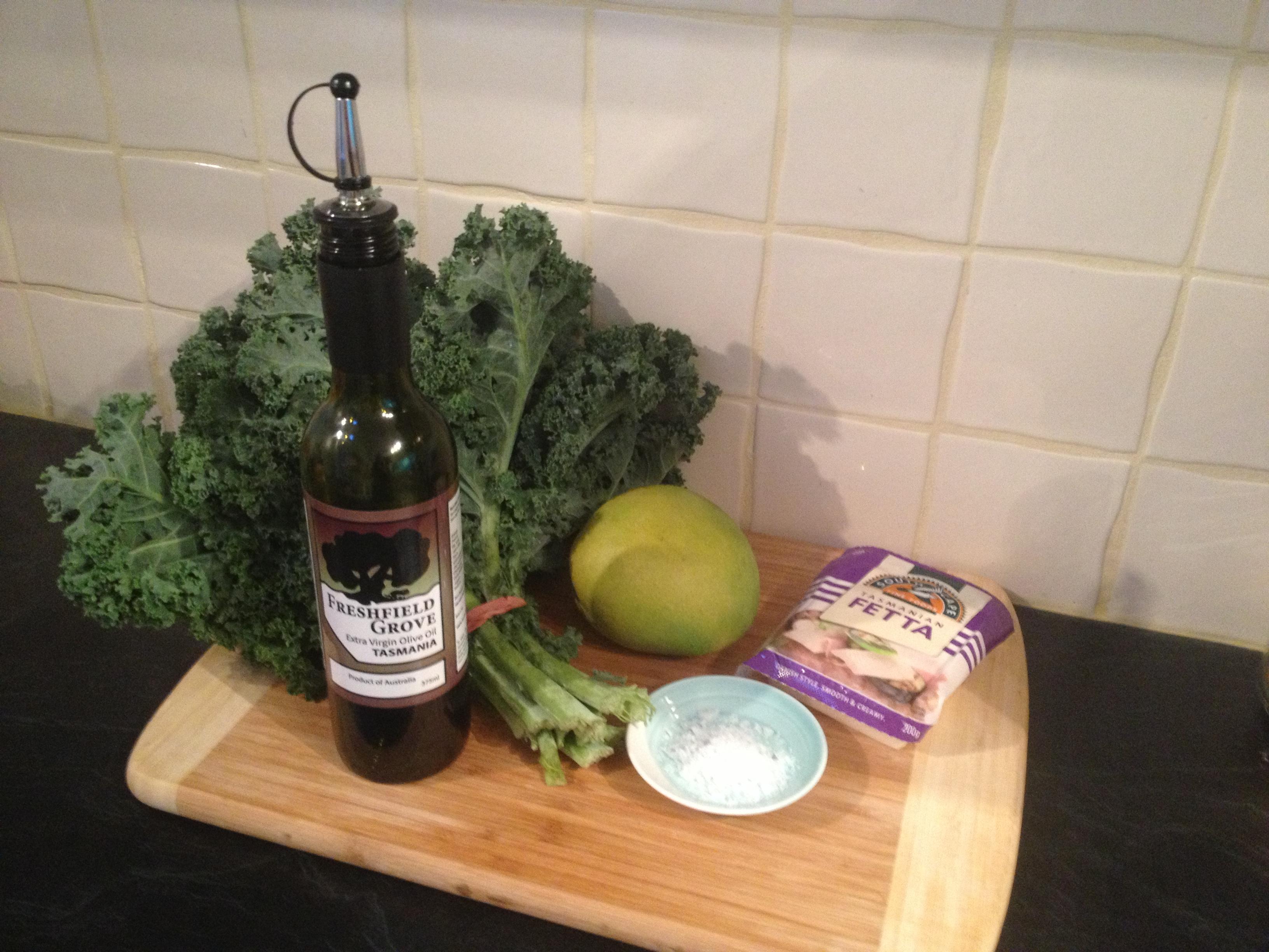 massaged kale salad ingredients evoo