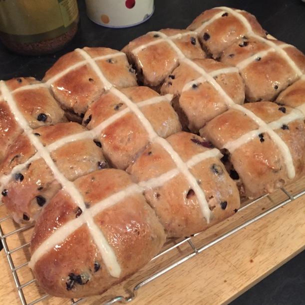 sourdough hot cross buns baked