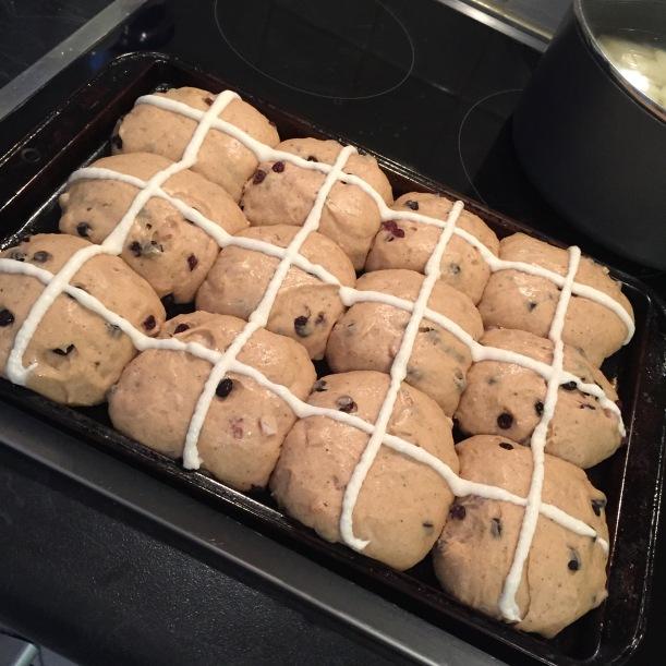 sourdough hot cross buns risen